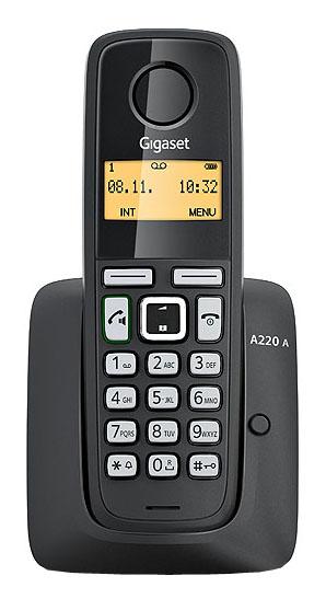 Радиотелефон Gigaset A220A blackРадиотелефон Dect<br>Gigaset a120 white — функциональная красота.<br>Белый и красивый. Да, да, именно такой радиотелефон Gigaset a120.  А еще у него на редкость приятная цена и отличная функциональность. Можно часами говорить по этому телефону и ни капельки не устать. Кстати, в режиме разговора радиотелефон работает 18 часов, а в режиме ожидания — 200 часов!<br>При желании или при необходимости вы можете подключить к базе до 4 радиотрубок, таким образом, повысив работоспособность целого офиса, ну, или просто увеличить доступность качественной связи в вашем доме. Пользоваться этим телефоном...<br><br>Тип: Радиотелефон<br>Количество трубок: 1<br>Стандарт: DECT/GAP<br>Радиус действия в помещении / на открытой местност: 50 / 300<br>Возможность набора на базе: Нет<br>Время работы трубки (режим разг. / режим ожид.): 200 /18<br>Полифонические мелодии: 10<br>Дисплей: есть