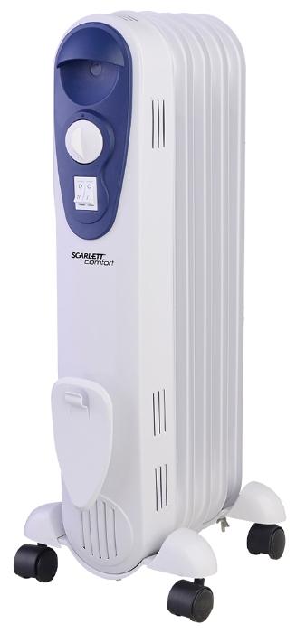 Масляный радиатор Scarlett SC 21.1005 SОбогреватели<br><br><br>Тип: масляный радиатор<br>Максимальная мощность обогрева: 1000 Вт<br>Отключение при перегреве: есть<br>Каминный эффект : есть<br>Управление: механическое<br>Регулировка температуры: есть<br>Термостат: есть<br>Выключатель со световым индикатором: есть<br>Отделение для шнура : есть<br>Колеса для перемещения: есть