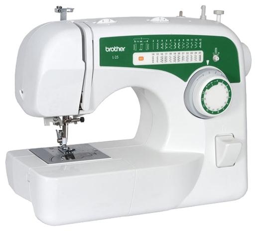 Швейная машина Brother L-25Швейные машины<br><br><br>Тип: электромеханическая<br>Количество швейных операций: 25<br>Выполнение петли: полуавтомат<br>Максимальная длина стежка: 4 мм<br>Максимальная ширина стежка: 5.0 мм<br>Потайная строчка : есть<br>Эластичная строчка : есть<br>Эластичная потайная строчка: есть<br>Кнопка реверса: есть<br>Система измерения размера пуговиц: есть