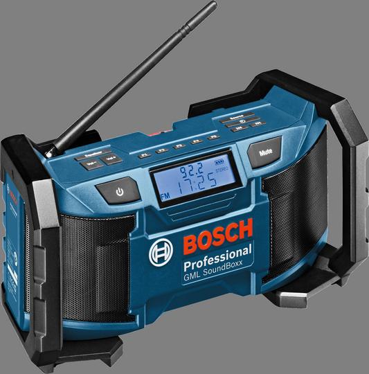 Радиоприемник Bosch GML SoundBoxx [0601429900]Радиобудильники, приёмники и часы<br>- Электропитание либо от литий-ионных аккумуляторов Bosch 14,4 В/18 В, либо посредством входящего в комплект поставки блока питания<br>- 10 ячеек для сохранения в памяти каналов радиостанций &amp;#40;5 FM и 5 AM&amp;#41;<br>- Гибкая настройка басов/верхних звуков<br>- 2 динамика Neodym мощностью 5 Вт для стереозвучания<br>- Полное сохранение функциональности даже при падении с высоты 1 м<br>- Полное сохранение функциональности даже при падении с высоты 1 м<br><br>Тип: Радиоприемник<br>Тип тюнера: Цифровой<br>Колличество динамиков  : 2<br>Часы: Есть<br>Встроенный будильник  : Нет