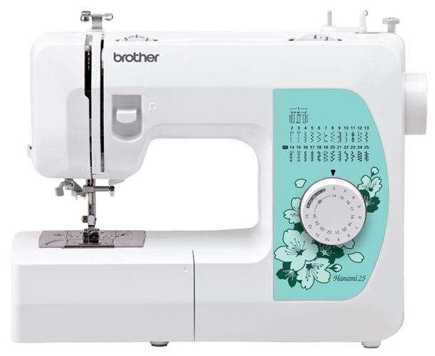 Швейная машина Brother Hanami 25Швейные машины<br><br><br>Тип: электромеханическая<br>Количество швейных операций: 25<br>Выполнение петли: автомат<br>Потайная строчка : есть<br>Эластичная строчка : есть<br>Эластичная потайная строчка: есть<br>Кнопка реверса: есть<br>Рукавная платформа: есть<br>Нитевдеватель: есть