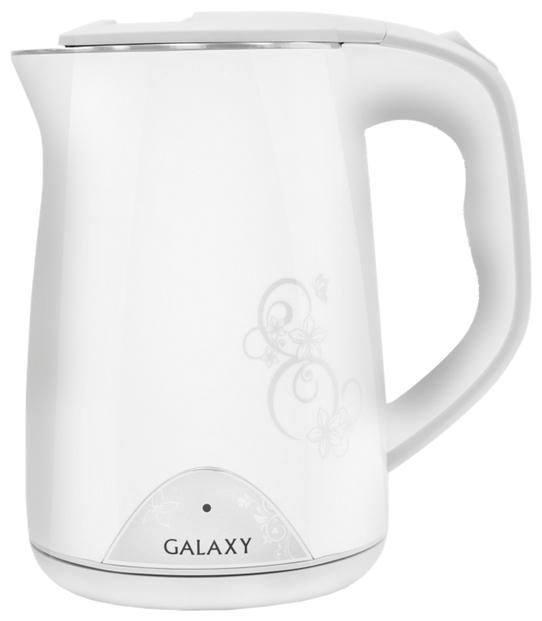 Электрочайник Galaxy GL 0301 WhiteЧайники и термопоты<br>Внешняя стенка чайника выполнена из экологически-безопасного пищевого пластика, внутренняя- из нержавеющей стали марки 18/10.<br><br>Благодаря пластиковой стенке, чайник не нагревается и о него невозможно обжечься. В то же время все части чайника Galaxy, которые контактируют с водой, выполнены из стали марки 18/10, которая при нагревании не выделяет в воду вредные вещества и является абсолютно безопасной.<br><br>Вкус воды так же остается неизменным. Кроме того, между стенок есть небольшая воздушная прослойка или так называемый теплоизолирующий зазор &amp;#40;как в термосах...<br><br>Тип   : Электрочайник<br>Объем, л  : 1.5<br>Мощность, Вт  : 2000<br>Тип нагревательного элемента: Закрытая спираль<br>Материал корпуса  : пластик<br>Индикация включения  : Есть<br>Индикатор уровня воды  : Нет<br>Блокировка включения без воды  : Есть<br>Фильтр  : Есть