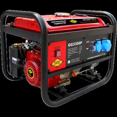 Электрогенератор DDE GG3300PЭлектрогенераторы<br><br><br>Тип электростанции: бензиновая<br>Тип запуска: ручной<br>Число фаз: 1<br>Объем двигателя: 208 куб. см.<br>Мощность двигателя: 5.3 кВт<br>Тип охлаждения: воздушное<br>Расход топлива: АИ-92<br>Тип генератора: синхронный<br>Активная мощность, Вт: 2800