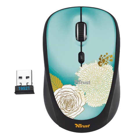 Компьютерная мышь Trust Yvi Wireless Mouse flower Black USB (19521)