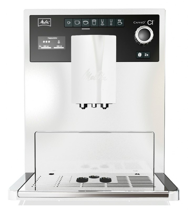 Кофемашина Melitta Caffeo CI WhiteКофеварки и кофемашины<br>Melitta CaffeO СI - единственная в мире бытовая кофе-машина с возможностью программирования индивидуального рецепта кофейного напитка во время его приготовления.<br><br>В новой кофейной машине Melitta CaffeO СI с помощью уникальной программы «Мой кофе» можно однажды создать и сохранить 24 индивидуальных рецепта кофе, учитывая все нюансы предпочтений кофейного гурмана - от крепости напитка до температуры и объема молочной пенки. Чтобы получить любимый напиток достаточно нажать всего одну кнопку, а изменить рецептуру напитка можно даже в момент приготовления ...<br><br>Тип используемого кофе: Зерновой\Молотый<br>Мощность, Вт: 1400<br>Объем, л: 1.8<br>Давление помпы, бар  : 15<br>Материал корпуса  : Пластик<br>Встроенная кофемолка: Есть<br>Емкость контейнера для зерен, г  : 270<br>Одновременное приготовление двух чашек  : Есть<br>Подогрев чашек  : Есть<br>Контейнер для отходов  : Есть
