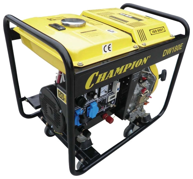 Электрогенератор Champion DW180EЭлектрогенераторы<br><br><br>Тип электростанции: дизельная, сварочная<br>Тип запуска: ручной, электрический<br>Число фаз: 1 (220 вольт)<br>Объем двигателя: 418 куб.см<br>Мощность двигателя: 8.5 л.с.<br>Тип охлаждения: воздушное<br>Расход топлива: 1.4 л/ч<br>Объем бака: 12 л<br>Активная мощность, Вт: 2000