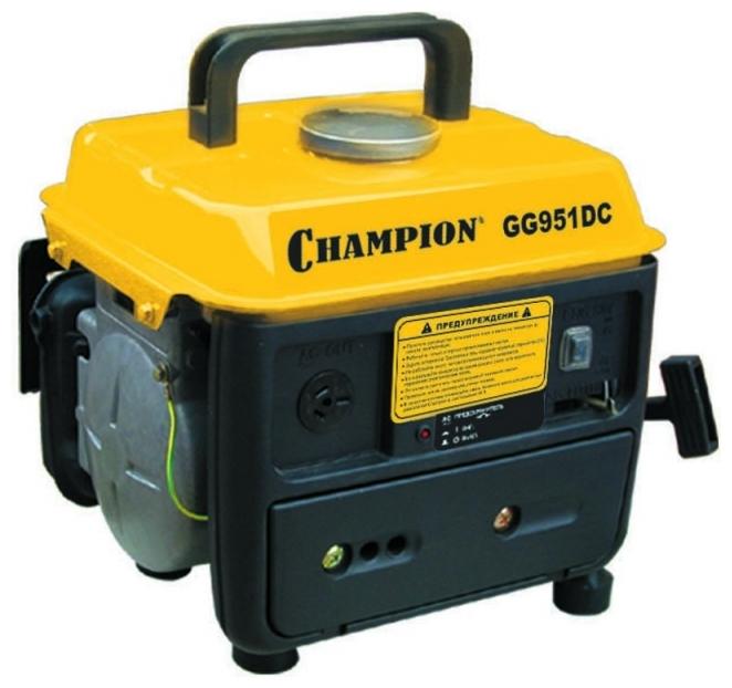 Электрогенератор Champion GG951DCЭлектрогенераторы<br><br><br>Тип электростанции: бензиновая<br>Тип запуска: ручной<br>Число фаз: 1 (220 вольт)<br>Объем двигателя: 63 куб.см<br>Мощность двигателя: 2 л.с.<br>Тип охлаждения: воздушное<br>Объем бака: 4.5 л<br>Тип генератора: синхронный<br>Класс защиты генератора: IP23<br>Активная мощность, Вт: 650