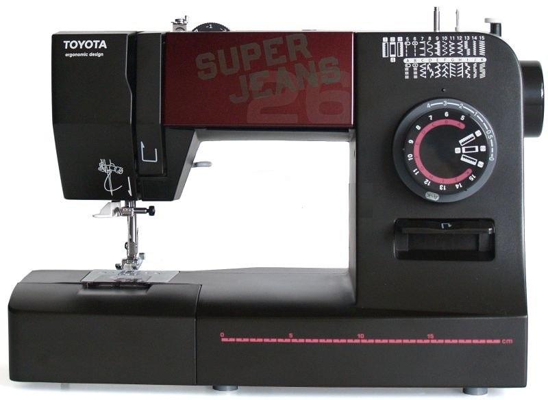 Швейная машина Toyota SPJ26XL Super JeansШвейные машины<br>Швейная машина TOYOTA Super Jeans 26 - продолжение серии машинок Super Jeans. Особенность серии Super Jeans - легкое шитье грубых тканей в несколько слоев и специальная лапка для качественной строчки на многослойных складках ткани. Оснащена контролем усилия прокола иглы. Без проблем выполняет аккуратные строчки на 12 слоях джинсовой ткани с использованием специальной лапки &amp;#40;поставляется в комплекте с машинкой&amp;#41;. Усиленная прямая строчка для создания особо прочного шва.<br><br>- Регулировка баланса петли<br>- Регулировка натяжения верхней нити<br>- Регулировка натяжения...<br>