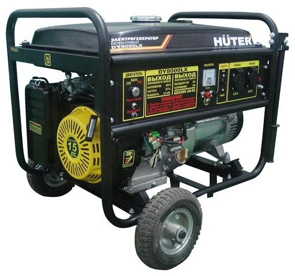 Электрогенератор Huter DY8000LXЭлектрогенераторы<br><br><br>Тип электростанции: бензиновая<br>Тип запуска: ручной, электрический<br>Число фаз: 1 (220 вольт)<br>Объем двигателя: 420 куб.см<br>Мощность двигателя: 15 л.с.<br>Тип охлаждения: воздушное<br>Расход топлива: 2 л/ч<br>Объем бака: 25 л<br>Тип генератора: синхронный<br>Класс защиты генератора: IP23