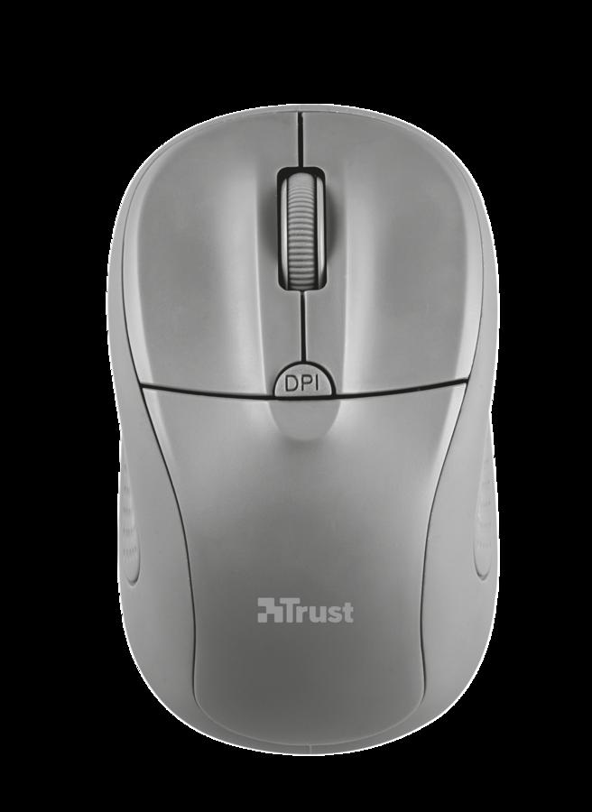 Компьютерная мышь Trust Primo Wireless Mouse Grey USB (20785)Компьютерные мыши<br>- Диапазон беспроводного подключения: 6 м<br>- Кнопка выбора скорости &amp;#40;1000-1600 точек на дюйм&amp;#41;.<br>- Микроприемник USB &amp;#40;убирается в корпус устройства&amp;#41;<br>- Выключатель<br>- Подходит для пользователей-левшей<br>