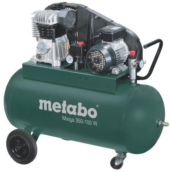 Компрессор Metabo Mega 350-100 D [601539000]Воздушные компрессоры<br>Комплект поставки:<br>- Компрессор Metabo Mega Mega 350-100 D<br>- 3 универсальные соединительные муфты<br>- транспортировочные колеса<br>- картонная коробка<br> <br>Особенности модели:<br>- Защитный кожух - Ременная система компрессора Metabo MEGA 350-100 D закрыта специальным кожухом для защиты от механических повреждений.<br>- Простота контроля - Есть два манометра для индикации рабочего давления на входе и выходе из ресивера.<br>- Маневренность - Большие колеса служат для легкого перемещения агрегата по рабочей зоне, малые поворотные колесики - для маневренности.<br><br>Преимущества:<br>- Мощный компрессор;...<br>