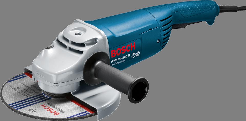 Угловая шлифмашина Bosch GWS 24 - 180 H [0601883103]Шлифовальные и заточные машины<br>- Устойчивый к проворачиванию защитный кожух обеспечивает надежную защиту от осколков шлифкруга в случае его поломки<br>- Бронированная обмотка якоря защищает электродвигатель от острых частиц пыли, образующихся при шлифовании, и обеспечивает долгий срок службы<br>- Двойное уплотнение шарикоподшипников и особенно надежный редуктор гарантируют долгий срок службы<br>- Быстрозажимная гайка SDS Bosch &amp;#40;предлагается в качестве принадлежности&amp;#41;<br>