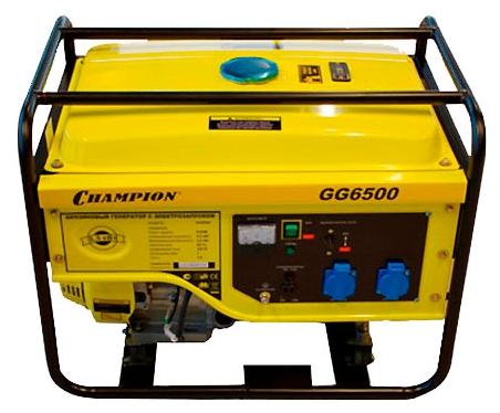 Электрогенератор Champion GG6500Электрогенераторы<br><br><br>Тип электростанции: бензиновая<br>Тип запуска: ручной<br>Число фаз: 1 (220 вольт)<br>Объем двигателя: 390 куб.см<br>Тип охлаждения: воздушное<br>Объем бака: 25 л<br>Активная мощность, Вт: 5000<br>Защита от перегрузок: есть<br>Описание: вольтметр