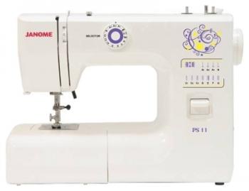Швейная машина Janome PS 11Швейные машины<br>Janome ps 11 — настоящая удача!<br>Электромеханическая швейная машина Janome ps 11 с вертикальным челноком — превосходный вариант для тех, кто только начинает учиться швейному делу. Машинка очень проста в обращении, вы разберетесь со всеми ее функциями и возможностями в течение получаса-часа, благодаря подробной инструкции, входящей в комплект к модели ps 11.<br>Но эта швейная машина производит впечатление не только высокой функциональностью и простотой использования, а еще и очень привлекательной ценой. Качественная машинка за такую цену — это настоящая...<br>