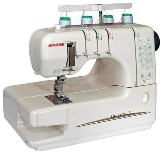 Распошивальная машинка JANOME Cover Pro IIШвейные машины<br><br><br>Тип: электромеханическая<br>Число нитей: 3, 4<br>Количество швейных операций: 4<br>Виды швов: распошивочный шов, цепной стежок<br>Максимальная длина стежка: 4 мм<br>Максимальная ширина стежка: 6.0 мм<br>Рукавная платформа: есть<br>Чехол: мягкий