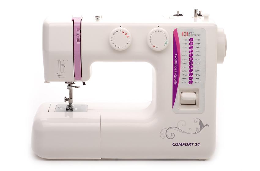 Швейная машина Comfort 24Швейные машины<br><br><br>Тип: электромеханическая<br>Тип челнока: вертикальный (ротационный)<br>Вышивальный блок: нет<br>Количество швейных операций: 25<br>Выполнение петли: автомат<br>Максимальная длина стежка: 4 мм<br>Максимальная ширина стежка: 5.0 мм<br>Потайная строчка : есть<br>Эластичная строчка : есть<br>Эластичная потайная строчка: есть