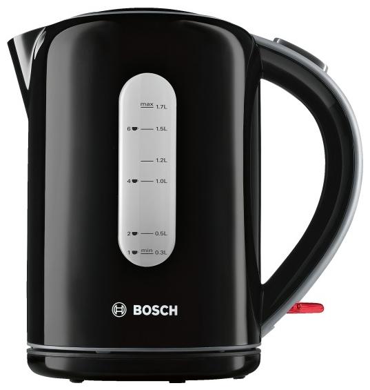 Электрочайник Bosch TWK 7603Чайники и термопоты<br><br><br>Тип   : Электрочайник<br>Объем, л  : 1.7<br>Мощность, Вт  : 3000<br>Тип нагревательного элемента: Закрытая спираль<br>Покрытие нагревательного элемента  : Нержавеющая сталь<br>Материал корпуса  : пластик<br>Индикация включения  : Есть<br>Индикатор уровня воды  : Есть<br>Блокировка крышки  : Есть<br>Фильтр  : Есть