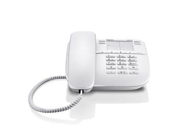 Проводной телефон Gigaset DA410, WhiteПроводные телефоны<br>Gigaset da410, white: всё для комфорта.<br>Проводной телефон Gigaset da410, white больше напоминает небольшой компьютер, чем обычный телефон. Причем, речь идет не только о внешнем сходстве.<br>Эта модель может похвастаться и ярким дисплеем, который может менять свое положение, и удобным кнопками, и эргономичным дизайном, и, конечно же, отличной функциональностью и превосходной доступной ценой. Автоматический определитель номера и Caller ID, спикерфон, встроенная телефонная книга, возможность регулировать уровень громкости звонка — теперь вы и сами видите, что в этом телефоне...<br><br>Тип: проводной телефон<br>Наборное поле на базе: есть<br>Громкая связь (спикерфон): есть<br>Встроенная телефонная книга: есть<br>Регулятор уровня громкости: есть