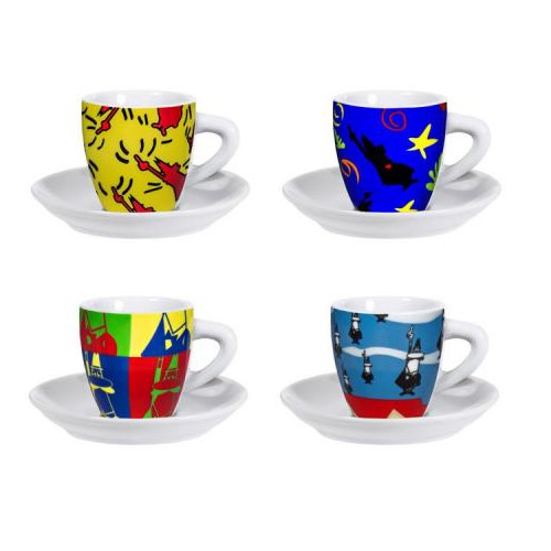 Набор чашек Bialetti Pop Art 281Аксессуары для кофемашин<br>Набор чашек Bialetti Pop Art 281 выполнен из фарфора, состоит из 4 чашек и 4 блюдец. Изящный дизайн и красочность оформления придутся по вкусу и ценителям классики, и тем, кто предпочитает утонченность и изысканность. Чайный набор - идеальный и необходимый подарок для вашего дома и для ваших друзей в праздники, юбилеи и торжества! Он также станет отличным корпоративным подарком и украшением любой кухни.<br><br>Тип: набор чашек<br>Описание: объем 100 мл. Материал - фарфор