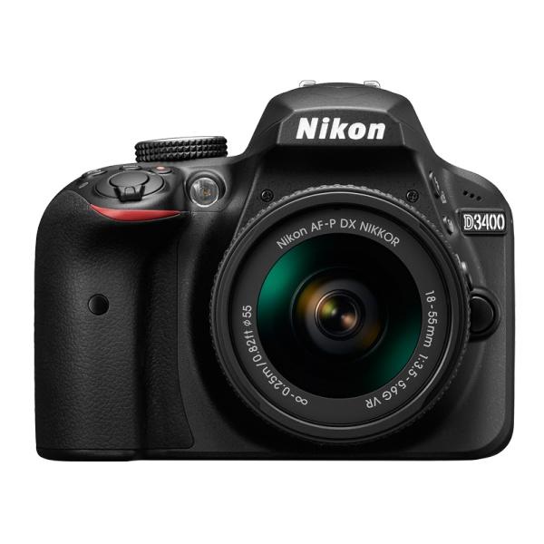 Зеркальный фотоаппарат Nikon D3400 18-55 P VR KIT BlackЦифровые зеркальные фотоаппараты<br><br><br>Тип: Цифровая зеркальная фотокамера<br>Стабилизатор изображения: нет<br>Вспышка: есть<br>Кроп фактор: 1.5<br>Тип матрицы: CMOS<br>Число эффективных пикселов, Mp: 24.2 млн<br>Чувствительность: 100 - 3200 ISO, Auto ISO<br>Фокусировка: ручная<br>Режимы замера экспозиции: мультизонный, центровзвешенный, точечный<br>Экспокоррекция: +/- 5 EV с шагом 1/3 ступени