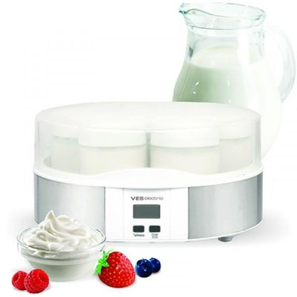Йогуртница VES  VYM 3Домашние помощники<br><br><br>Тип: йогуртница<br>Мощность, Вт.: 15<br>Объем: 1 л<br>Цвет: серебро<br>Комплектация: 7 стеклянных контейнеров с закручивающимися крышками. Объем 1 стеклянного контейнера – 170 мл