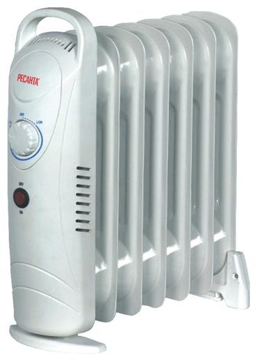 Масляный радиатор Ресанта ОММ- 7НОбогреватели<br><br><br>Тип: масляный радиатор<br>Максимальная мощность обогрева: 700 Вт<br>Количество секций: 7<br>Каминный эффект : есть<br>Управление: механическое<br>Регулировка температуры: есть<br>Термостат: есть<br>Выключатель со световым индикатором: есть<br>Напольная установка: есть<br>Ручка для перемещения: есть