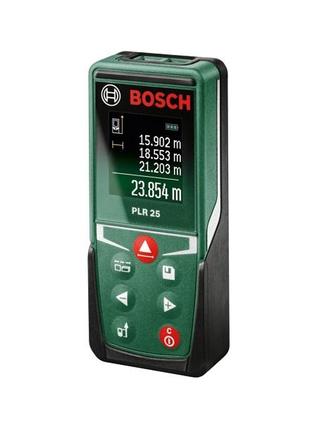 Лазерный дальномер Bosch PLR 25 [0603672521]Измерительные инструменты<br>Лазерный дальномер Bosch PLR 25 – удобный и компактный прибор, идеальный для домашнего использования.<br>Никогда еще измерение расстояний не было таким простым и таким точным.&amp;nbsp;&amp;nbsp;С лазерным дальномером Bosch PLR 25 это доступно.&amp;nbsp;&amp;nbsp;Вместе с тем, этот прибор гораздо большее, нежели просто лазерная линейка. Помимо высокоточного измерения длины,&amp;nbsp;&amp;nbsp;лазерный&amp;nbsp;&amp;nbsp;дальномер Bosch PLR 25 позволяет определить высоту конкретного сегмента помещения, а также вычислить его объем.<br>При этом лазерный дальномер Bosch PLR 25 обладает высокой точностью - &amp;#43;/- 2мм.&amp;nbsp;&amp;nbsp;Дальность...<br>
