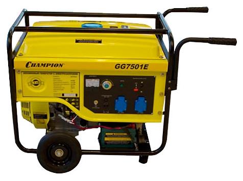 Электрогенератор Champion GG7501EЭлектрогенераторы<br><br><br>Тип электростанции: бензиновая<br>Тип запуска: ручной, электрический<br>Число фаз: 1 (220 вольт)<br>Объем двигателя: 420 куб.см<br>Тип охлаждения: воздушное<br>Объем бака: 25 л<br>Активная мощность, Вт: 6000