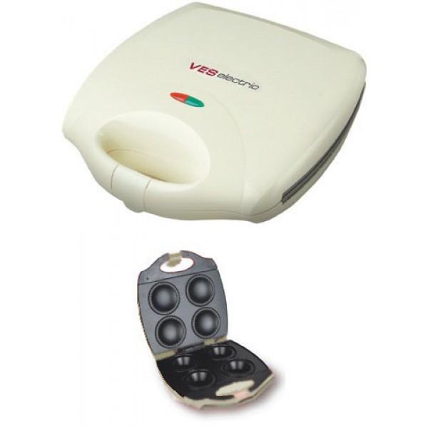 Аппарат для кексов VES V TO 3 CДомашние помощники<br><br><br>Тип: аппарат для кексов<br>Мощность, Вт.: 1400<br>Объем: 4 формы для выпечки<br>Цвет: белый