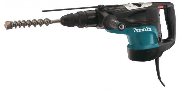 Перфоратор Makita HR5201CПерфораторы<br><br><br>Тип крепления бура: SDS-Max<br>Количество скоростей работы: 1<br>Потребляемая мощность: 1500 Вт<br>Макс. энергия удара: 19.7 Дж<br>Макс. диаметр сверления (полой коронкой): 160 мм<br>Питание: от сети<br>Возможности: предохранительная муфта, антивибрационная система, электронная регулировка частоты вращения, индикатор износа угольных щеток<br>Описание: Отсутствие удара на холостом ходу. Ползунковый выключатель для комфортной работы в режиме отбойного молотка