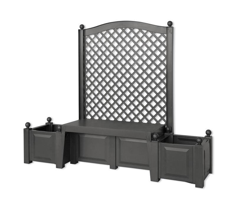 Садовая скамейка KHW Копенгаген 43505 BlackСадовые конструкции<br><br><br>Тип: садовая скамейка<br>Объем, л: 2х44<br>Материал : полипропилен<br>Шпалера в комплекте: есть<br>Ящик для растений: есть