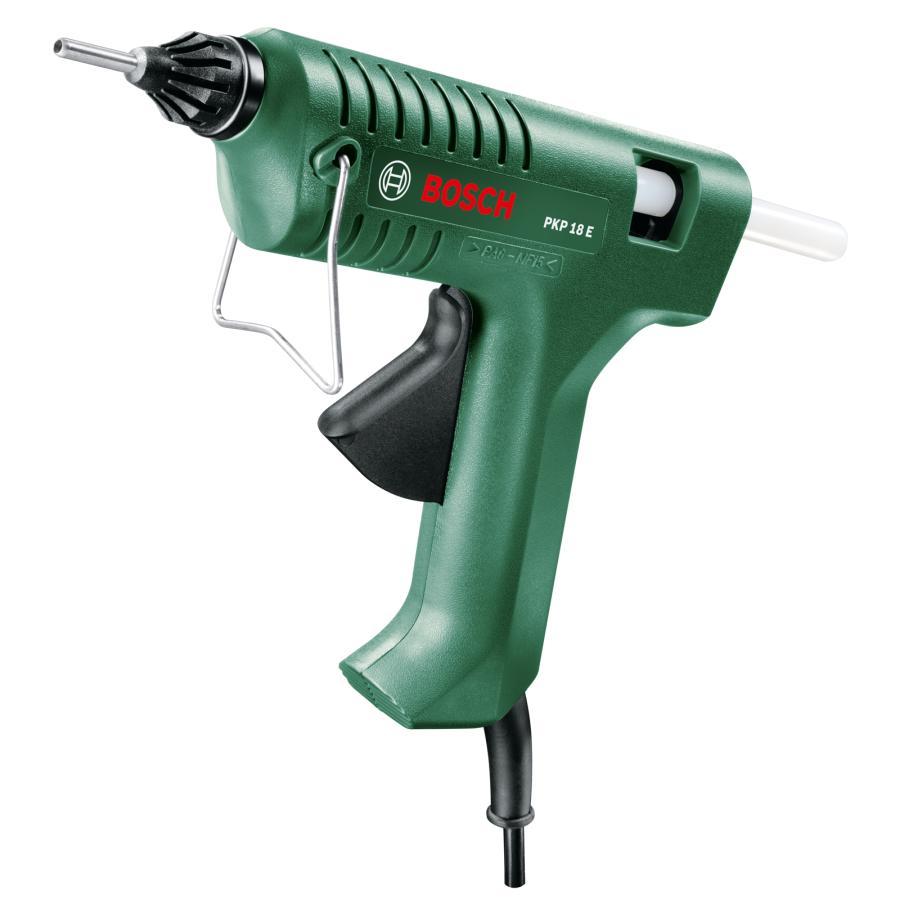 Клеевый пистолет Bosch PKP 18 E [0603264508]Клеевые пистолеты<br>Долговечные соединения и работа без пыли<br><br>Потребительские преимущества<br>- Константная электроника Bosch: нагревательные элементы с электронным управлением для обеспечения быстрой готовности к работе и поддержания постоянной рабочей температуры<br>- Механическая подача для точного дозирования и плавного нанесения в нужном месте<br>- Чистота и удобство в использовании благодаря блокировке капель<br><br>Дополнительные преимущества<br>- Скоба для надежной установки в нерабочем положении<br><br>Диаметр клеевых стержней: 11 x 45 – 200 мм<br>Описание: производительность подачи клея 20 г/мин