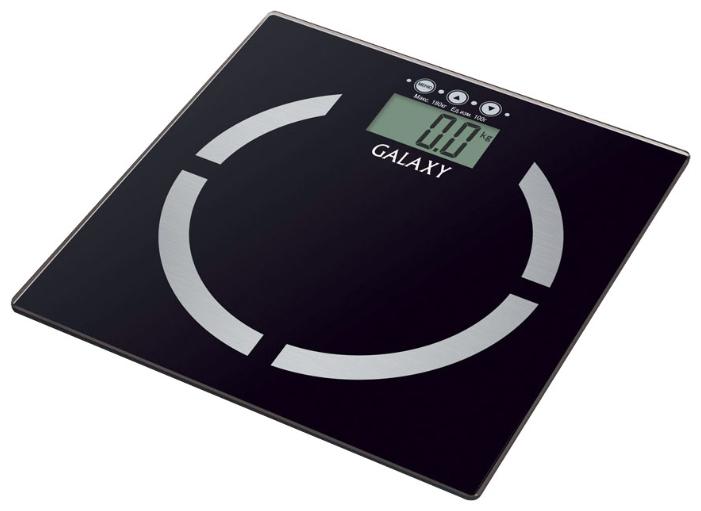 Весы Galaxy GL 4850Весы<br>- Благодаря весам-жироанализаторам Galaxy стало возможным не только узнать массу тела, но и вычислить соотношение жировой, мышечной, костной ткани, уровня жидкости в организме и индекса массы тела.<br>- Весь процесс измерения занимает буквально несколько секунд!<br>- Память измерений на 10 человек позволяет каждому члену семьи контролировать свои показатели.<br>- Платформа весов выполнена из&amp;nbsp;&amp;nbsp;высокопрочного немецкого стекла и с легкостью выдерживает большие нагрузки.<br><br>Тип: напольные весы<br>Тип весов: электронные<br>Предел взвешивания, кг: 180<br>Точность измерения, г: 100