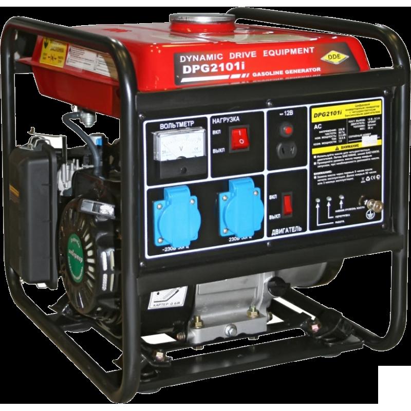Электрогенератор DDE DPG2101iЭлектрогенераторы<br><br><br>Тип электростанции: бензиновая, инверторная<br>Тип запуска: ручной<br>Число фаз: 1 (220 вольт)<br>Объем двигателя: 196 куб.см<br>Мощность двигателя: 5.5 л.с.<br>Тип охлаждения: воздушное<br>Объем бака: 9 л<br>Активная мощность, Вт: 2400<br>Защита от перегрузок: есть