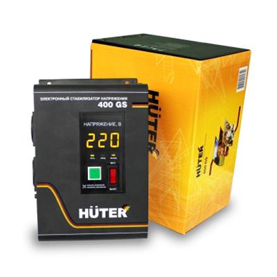 Стабилизатор напряжения Huter 400GSСетевые фильтры и стабилизаторы<br>Стабилизатор напряжения Huter 400GS - бытовой прибор, предназначенный для работы в помещениях при температуре от 0 до &amp;#43;40 С. Данное устройство служит для обеспечения стабильного напряжения 220 В, что защищает электроприборы от перегрузок. Малые габариты прибора позволяют размещать его рядом с потребителем, предусмотрена возможность крепления на стену. Электронный дисплей позволяет с легкостью контролировать рабочее состояние стабилизатора. Специальная модель, предназначенная для газовых котлов.<br><br>Преимущества Huter 400GS<br>- Рабочий диапазон 110 - 260В.<br>...<br><br>Тип: стабилизатор напряжения