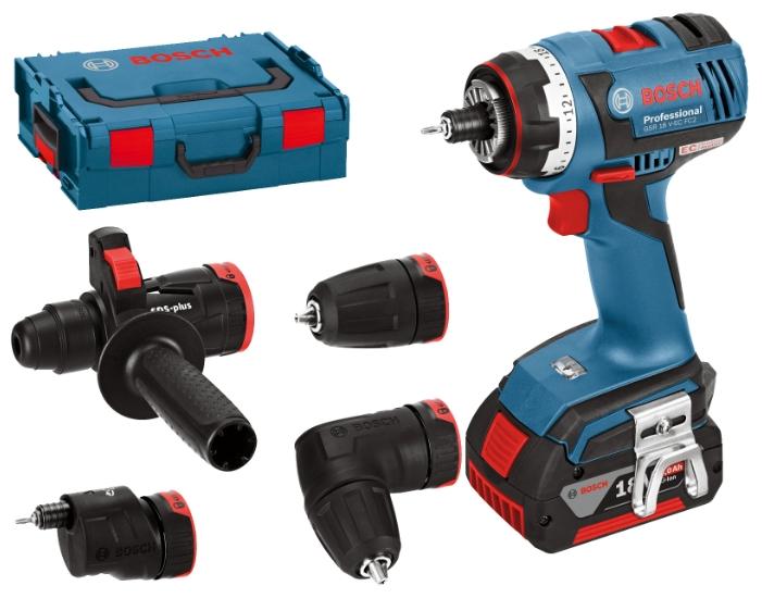Дрель-шуруповерт Bosch GSR 18 V-EC FC2 4.0Ah x2 L-BOXX Set2 [06019E1100]Дрели, шуруповерты, гайковерты<br>- Встроенный держатель бит подходит для фиксации любых стандартных насадок-бит<br>- Компактный дизайн – короткое исполнение &amp;#40;147 мм&amp;#41; и малый вес &amp;#40;1,7 кг, GSR 18 V-FC2&amp;#41; обеспечивают высокоточную работу<br>- Высокая эффективность — заворачивание до 826 шурупов &amp;#40;6 x 60 мм&amp;#41; в мягкую древесину на всего одной зарядке аккумулятора &amp;#40;18 В – 4,0 А*ч&amp;#41;<br>- Высокая мощность – исключительно высокий крутящий момент благодаря инновационной концепции редуктора и новому 4-полюсному двигателю высокой мощности Bosch<br>- Встроенная светодиодная подсветка для освещения рабочей...<br><br>Тип: дрель-шуруповерт<br>Тип инструмента: безударный<br>Тип патрона: быстрозажимной<br>Количество скоростей работы: 2<br>Питание: от аккумулятора<br>Тормоз двигателя: есть<br>Возможности: реверс, фиксация шпинделя, электронная защита от перегрузок, электронная регулировка частоты вращения, бесколлекторный (бесщеточный) двигатель<br>Тип аккумулятора: Li-Ion<br>Время зарядки аккумулятора: 0.75 ч<br>Съемный аккумулятор: есть