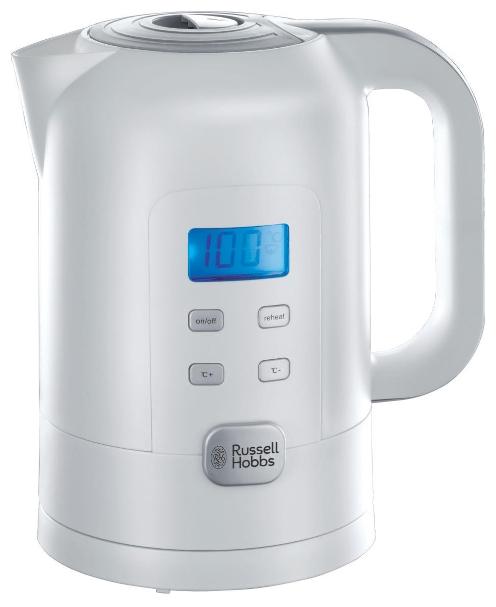 Электрочайник Russell Hobbs 21150Чайники и термопоты<br><br><br>Тип   : Электрочайник<br>Объем, л  : 1,7<br>Мощность, Вт  : 2200<br>Тип нагревательного элемента: Закрытая спираль<br>Материал корпуса  : пластик<br>Вращение на 360 градусов  : Есть<br>Терморегулятор  : Есть<br>Тип терморегулятора  : Ступенчатый<br>Дисплей  : Есть<br>Индикация включения  : Есть