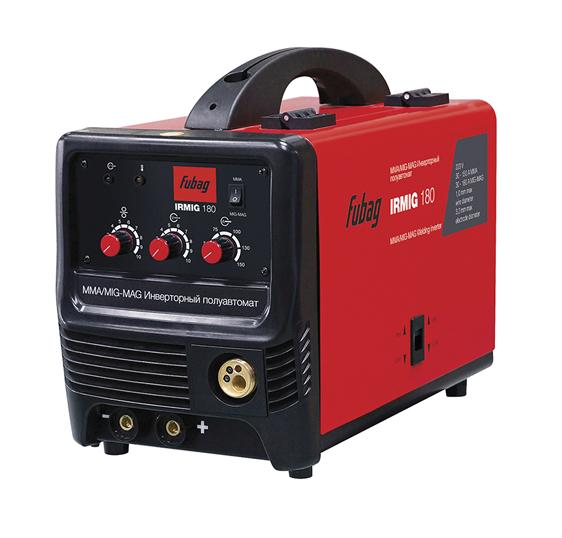Сварочный аппарат FUBAG IRMIG 180 с горелкой FB 250_3 м (68 071)Сварочные аппараты<br>Универсальный сварочный полуавтомат с повышенной системой охлаждения. Подходит для выполнения различных сварочных работ в автомастерских, на небольшом производстве или на стройке, когда требуется высокое качество шва. <br><br>- система принудительного охлаждения;<br>- механизм автоматической подачи проволоки;<br>- полный набор аксессуаров: кабель заземления 1,8 м, кабель горелки 2,0 м, щиток,катушка 200 г, D - 1,0 мм<br><br>Тип: сварочный инвертор<br>Напряжение на входе: 198-242 В<br>Количество фаз питания: 1<br>Напряжение холостого хода: 52 В<br>Тип выходного тока: постоянный<br>Мощность, кВт: 6.60<br>Продолжительность включения при максимальном токе: 25 %<br>Класс изоляции: H<br>Степень защиты: IP21S<br>Температурный диапазон работы: от -10 до 40 °C