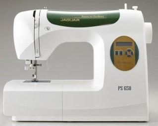 Швейная машина Jaguar PS-650Швейные машины<br><br><br>Тип: электронная<br>Тип челнока: качающийся<br>Вышивальный блок: нет<br>Количество швейных операций: 73<br>Выполнение петли: автомат<br>Число петель: 7<br>Максимальная длина стежка: 4.0 мм<br>Максимальная ширина стежка: 6.5 мм<br>Оверлочная строчка : есть<br>Потайная строчка : есть