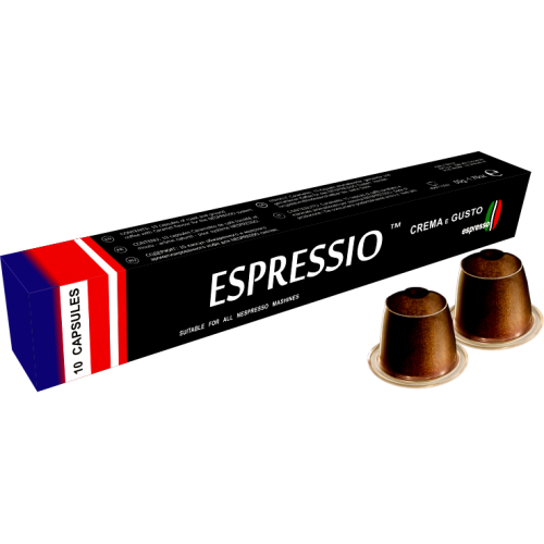 Кофе в капсулах Espressio Crema e GustoКофе и чай<br>Капсулы Crema e Gusto – это собранный кофейный букет из смеси сортов «бразильская арабика» &amp;#40;30%&amp;#41; и «индийская робуста» &amp;#40;70%&amp;#41;. Данный набор с высокой крепостью и густым насыщенным вкусом, также применение такого сорта зёрен объясняет появление в кофе нежной мягкой пенки. Кроме всего, у напитка превосходный бодрящий аромат, а благодаря специальному способу обжаривания зёрен, после употребления чашечки этого кофе во рту появляется ореховый аромат с нежной шоколадной ноткой.&amp;nbsp;&amp;nbsp;Подходят как для приготовления эспрессо, так и американо, ...<br>