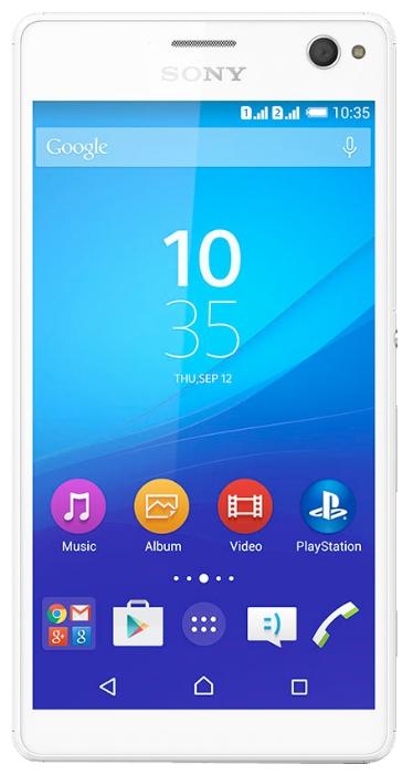 Мобильный телефон Sony Xperia C4 (E5303) WhiteМобильные телефоны<br><br><br>Тип: Смартфон<br>Стандарт: GSM 900/1800/1900, 3G, 4G LTE<br>Тип трубки: классический<br>Операционная система: Android 5.0<br>Встроенная память: 16 Гб<br>Фотокамера: 13 млн пикс., светодиодная вспышка<br>Форматы проигрывателя: MP3<br>Разъем для наушников: 3.5 мм<br>Процессор: MediaTek MT6752, 1700 МГц<br>Количество ядер процессора: 8