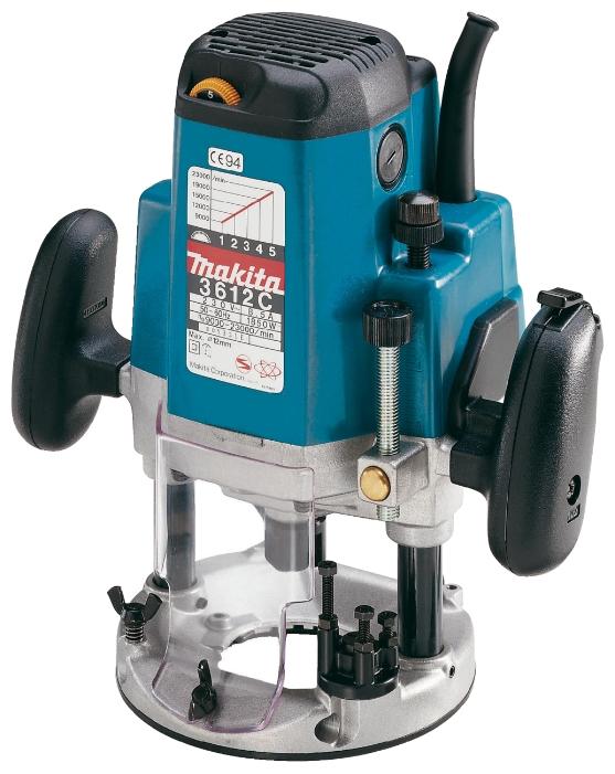 Фрезер Makita 3612CФрезеры<br>- Высокопроизводительный профессиональный фрезер с мощным мотором.<br>- Выставление оптимальной скорости фрезерования, в зависимости от материала<br>- Выбор глубины обработки 0-60 мм обеспечивает легкое проникновение вглубь заготовки или сквозь нее.<br>- Электронный контроль скорости с функцией мягкого запуска для высококачественной чистовой обработки<br>- Без кейса<br><br>Тип: вертикальный<br>Мощность Вт: 1850<br>Скорость вращения: 9000-23000 об/мин<br>Регулировка скорости вращения фрезы: есть<br>Описание: длина кабеля 2.5 м