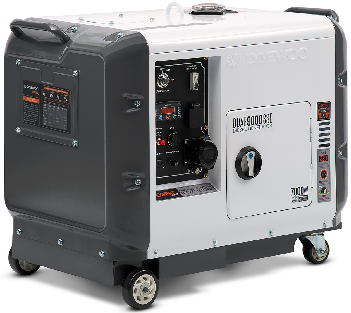 Электрогенератор Daewoo DDAE 9000SSEЭлектрогенераторы<br>Дизельный генератор Daewoo DDAE 9000SSE используется в случае аварийного отключения электроэнергии для питания электроприборов. Двигатель устройства запускается без особых усилий благодаря электростартеру и наличию аккумулятора. Альтернатор агрегата выполнен из меди и выдает стабильный качественный ток, что позволяет подключать инверторные сварочные аппараты. В конструкции модели предусматриваются ручки для удобного перемещения. Розетка на 32 А дает возможность питать силовое оборудование высокой мощности.<br><br>- Профессиональный дизельный двигатель...<br><br>Тип электростанции: дизельная<br>Тип запуска: электрический<br>Число фаз: 1 (220 вольт)<br>Объем двигателя: 480 куб.см<br>Мощность двигателя: 15 л.с.<br>Тип охлаждения: воздушное<br>Объем бака: 15 л<br>Активная мощность, Вт: 6400<br>Звукоизоляционный кожух: есть<br>Защита от перегрузок: есть