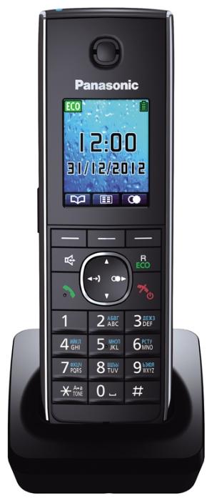 Дополнительная трубка Panasonic KX-TGA855RUBРадиотелефон Dect<br><br><br>Тип: Дополнительная радиотрубка<br>Количество трубок: 1<br>Рабочая частота: 1880-1900 МГц<br>Стандарт: DECT/GAP<br>Время работы трубки (режим разг. / режим ожид.): 12 / 250 ч<br>Полифонические мелодии: 40<br>Дисплей: на трубке (цветной)<br>Подсветка кнопок на трубке: Есть<br>Журнал номеров: 50