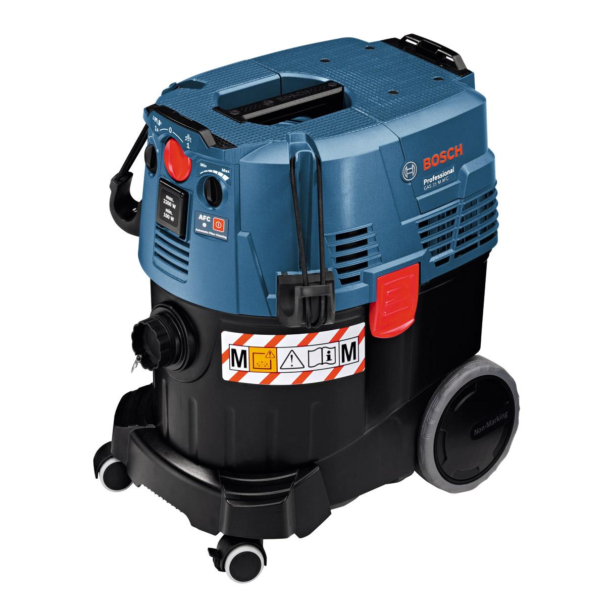 Строительный пылесос Bosch GAS 35 M AFC [06019C3100]Пылесосы<br>Универсальный пылесос Bosch Professional GAS 35 M AFC сертифицированный по классу M, для влажного и сухого мусора с полуавтоматической очисткой фильтра.<br><br>Особенности:<br>- Автоматика дистанционного выключения<br>- Пылезащищенность класса M<br>- Автоматическая система очистки фильтра<br>- Плавная регулировка силы всасывания на пылесосе и на муфте<br>- Звуковой сигнал при достижении минимального потока воздуха<br>- Ограничение пускового тока<br>- Крепление для установки кейсов L-BOXX<br>- Антистатический шланг<br>- Компактные размеры<br>- Макс. пропускная способность: 74 л/с<br>- Автоматическое...<br><br>Тип: Строительный пылесос<br>Потребляемая мощность, Вт: 1200<br>Тип уборки: Сухая\влажная<br>Регулятор мощности на корпусе: Есть<br>Пылесборник: Мешок<br>Емкостью пылесборника : 35 л