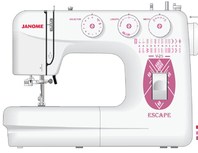 Швейная машина Janome Escape V-25Швейные машины<br>Комплектация:<br>Лапка универсальная &amp;#40;A&amp;#41; &amp;#40;установлена на машине&amp;#41;<br>Лапка для потайной подшивки низа &amp;#40;D&amp;#41;<br>Лапка для вшивания молнии &amp;#40;E&amp;#41;<br>Лапка для выметывания петли<br>Набор игл для Х/Б тканей<br>Масленка<br>Кисточка<br><br>Тип: электромеханическая<br>Тип челнока: качающийся<br>Количество швейных операций: 24<br>Выполнение петли: автомат<br>Число петель: 1<br>Максимальная длина стежка: 4.0 мм<br>Максимальная ширина стежка: 5.0 мм<br>Оверлочная строчка : есть<br>Потайная строчка : есть<br>Эластичная строчка : есть