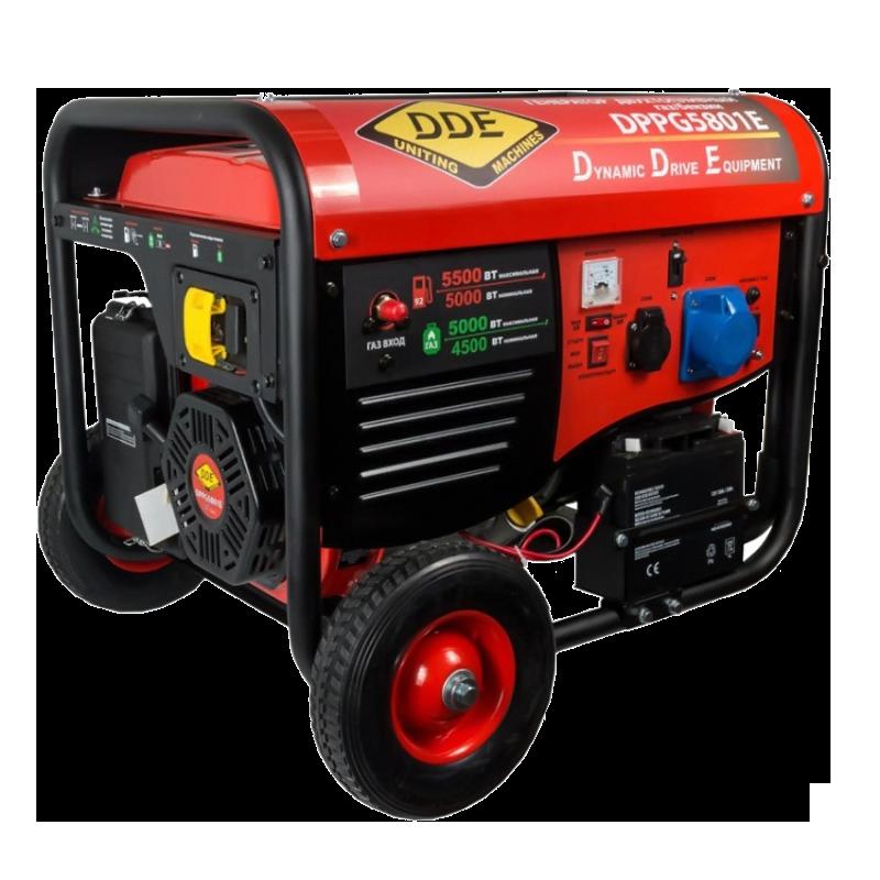Электрогенератор DDE DPPG5801EЭлектрогенераторы<br><br><br>Тип электростанции: газо-бензиновая<br>Тип запуска: ручной, электрический<br>Число фаз: 1 (220 вольт)<br>Объем двигателя: 389 куб.см<br>Мощность двигателя: 13 л.с.<br>Тип охлаждения: воздушное<br>Объем бака: 25 л<br>Тип генератора: синхронный<br>Активная мощность, Вт: 5000