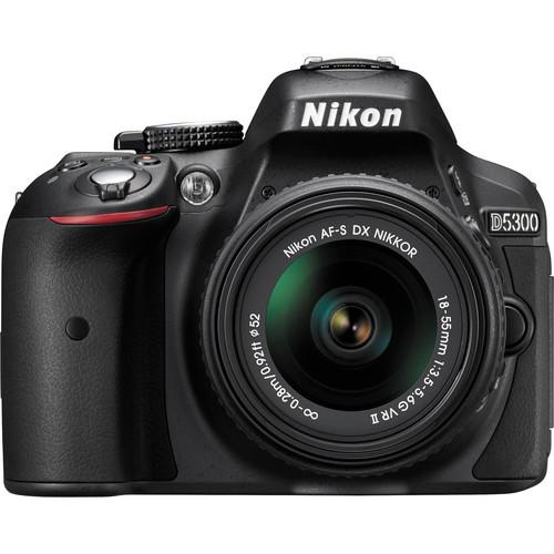 Зеркальный фотоаппарат Nikon D5300 KIT 18-55 VR (AF-P), черныйЦифровые зеркальные фотоаппараты<br><br><br>Тип: Цифровая зеркальная фотокамера<br>Стабилизатор изображения: нет<br>Носители информации: SD, SDHC, SDXC<br>Видеорежим: есть<br>Звук в видеоклипе: есть<br>Вспышка: есть<br>Кроп фактор: 1.5<br>Тип матрицы: CMOS<br>Размер матрицы: 23.5 x 15.6 мм<br>Число эффективных пикселов, Mp: 24.2 млн