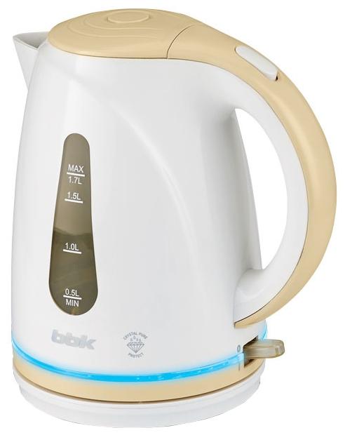 Электрочайник BBK EK 1701 P White/BeigeЧайники и термопоты<br>Новый электрический чайник из термостойкого экологически чистого пластика, мощностью 2200 Bт и емкостью 1,7 литра, - это не просто стильный, но и многофункциональный прибор для вашей кухни.<br><br>Чайник оснащен технологией Crystal Pure Protect - это улучшенная защита от накипи и усовершенствованная очистка воды, а также многоуровневой защитой. Помимо этого модель порадует яркой LED- подсветкой.<br><br>Прибор установлен на удобную подставку с возможностью поворота на 360 градусов и с отделением для хранения шнура. Помимо этого отличительной особенностью является удобный...<br><br>Тип   : Электрочайник<br>Объем, л  : 1.7<br>Мощность, Вт  : 2200<br>Тип нагревательного элемента: Закрытая спираль<br>Покрытие нагревательного элемента  : Нержавеющая сталь<br>Материал корпуса  : пластик<br>Вращение на 360 градусов  : Есть<br>Подсветка  : Есть<br>Индикатор уровня воды  : Есть<br>Блокировка включения без воды  : Есть