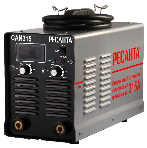 Сварочный аппарат Ресанта САИ-315Сварочные аппараты<br><br><br>Тип: сварочный инвертор<br>Сварочный ток (MMA): 20-315 А<br>Напряжение на входе: 342-418 В<br>Количество фаз питания: 3<br>Напряжение холостого хода: 85 В<br>Тип выходного тока: постоянный<br>Продолжительность включения при максимальном токе: 70 %<br>Диаметр электрода: 6 мм<br>Антиприлипание: есть<br>Горячий старт: есть